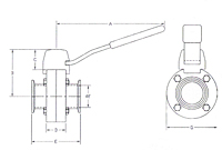 Diagram B5104 Clamp End Butterfly Valve