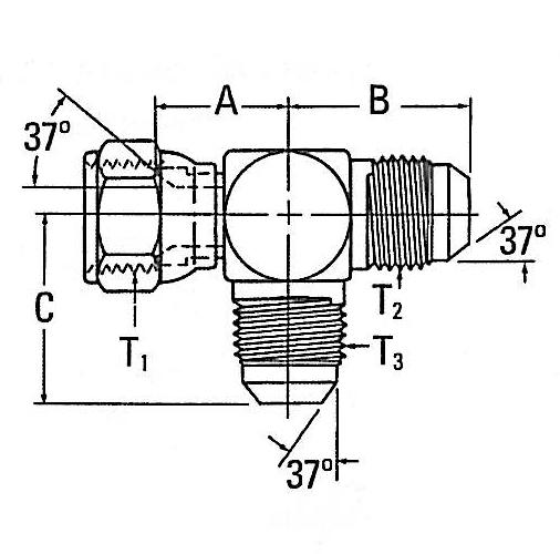 203102 37 Flare Bulkhead Tee Adapter