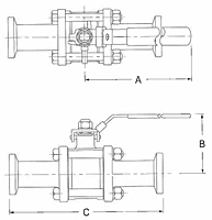 Sanitary Non-Encapsulated 3-Way 3 Piece Stainless Steel Ball Valves-2